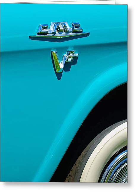1958 Gmc Series 101-s Pickup Truck Side Emblem Greeting Card by Jill Reger