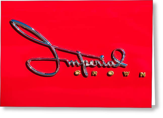 1958 Imperial Crown Convertible Emblem Greeting Card by Jill Reger
