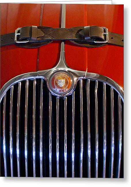 1958 Jaguar Xk150 Roadster Grille Emblem Greeting Card