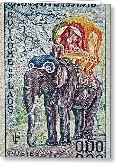 1958 Laos Elephant Stamp Greeting Card