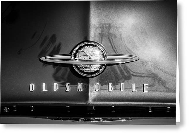 1958 Oldsmobile Grille Emblem -0236bw Greeting Card