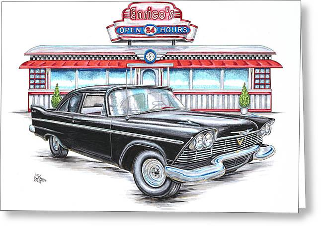 1958 Plymouth Savoy And Diner Greeting Card