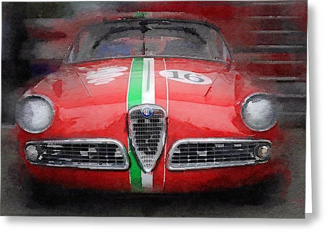 1959 Alfa Romeo Giulietta Watercolor  Greeting Card by Naxart Studio