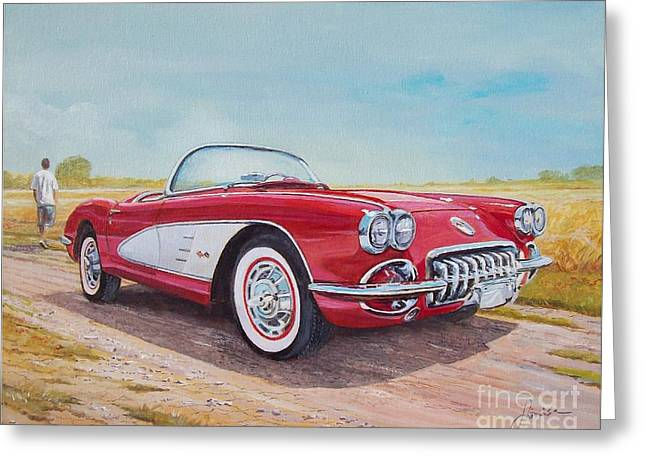 1959 Chevrolet Corvette Cabriolet Greeting Card