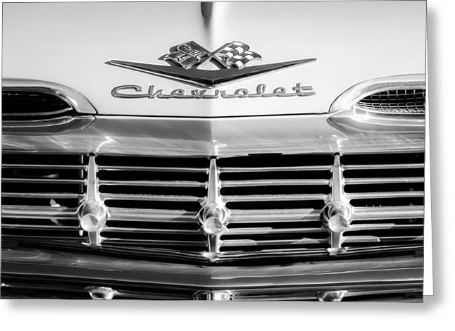 1959 Chevrolet Impala Grille Emblem Greeting Card by Jill Reger