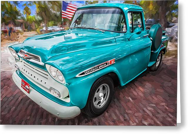 1959 Chevy Pick Up Truck Apache Series Painted Greeting Card by Rich Franco