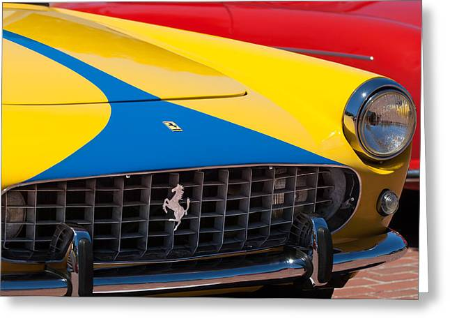 1959 Ferrari 250 Gt Coupe Grille Emblems Greeting Card by Jill Reger