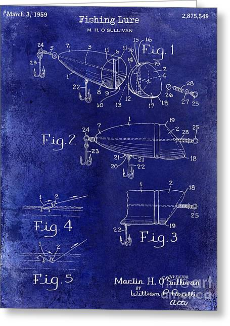 1959 Fish Lure Patent Drawing Blue Greeting Card by Jon Neidert