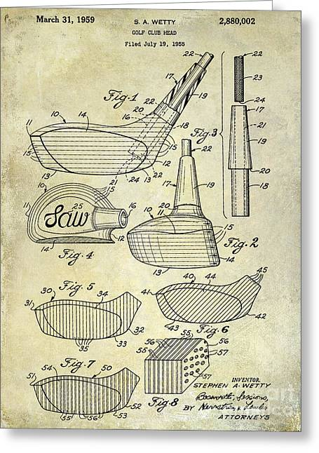 1959 Golf Club Patent Drawing Greeting Card by Jon Neidert