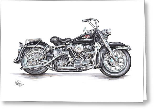 1959 Harley Davidson Panhead Greeting Card by Shannon Watts