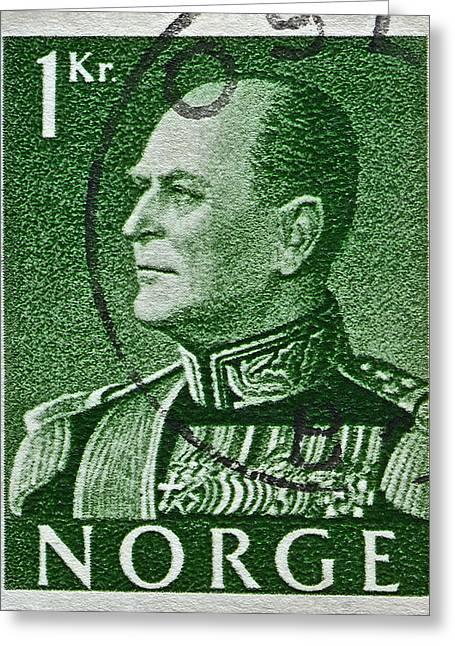 1959 King Olav V Norway Stamp - Oslo Postmark Greeting Card by Bill Owen
