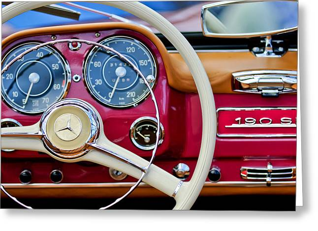 1959 Mercedes-benz 190 Sl Steering Wheel Greeting Card by Jill Reger