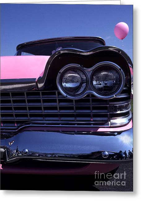 1959 Pink Plymouth Fury With Balloon Greeting Card by Anna Lisa Yoder