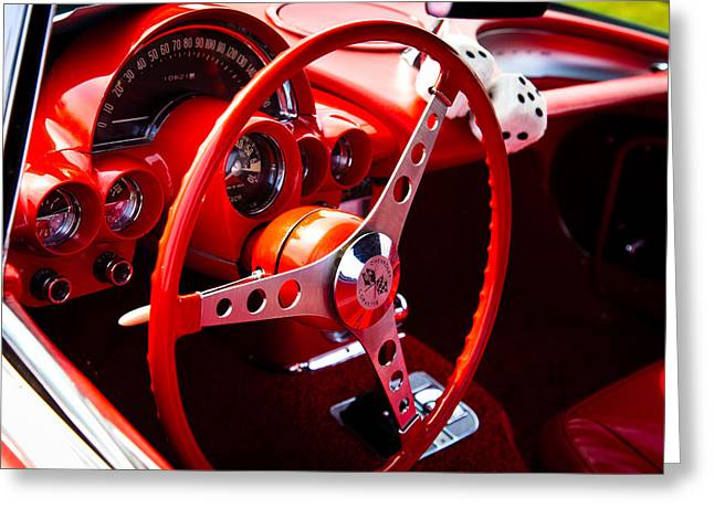 1959 Red Chevy Corvette Greeting Card by David Patterson