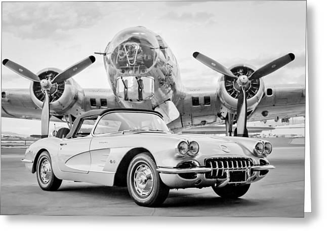 1960 Chevrolet Corvette - B-17 Bomber Greeting Card by Jill Reger