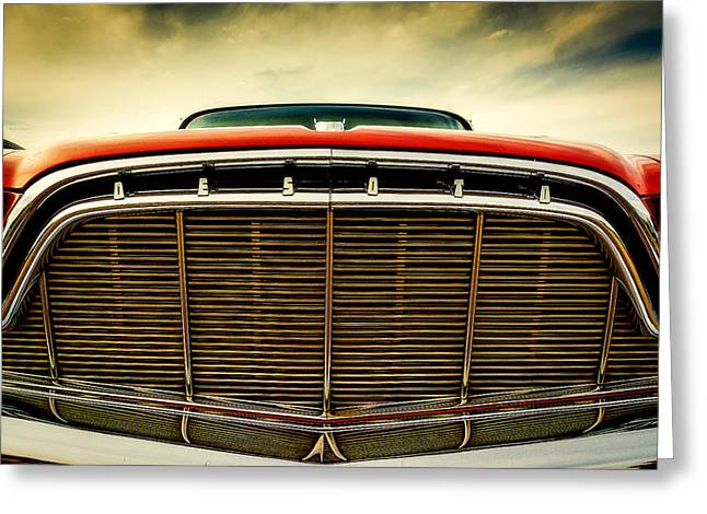1960 Desoto Fireflite Coupe Grill Greeting Card by Jon Woodhams