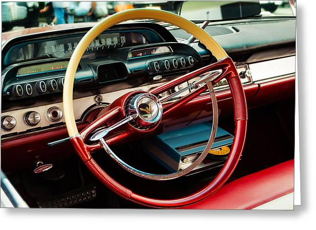 1960 Desoto Fireflite Coupe Steering Wheel And Dash Greeting Card by Jon Woodhams
