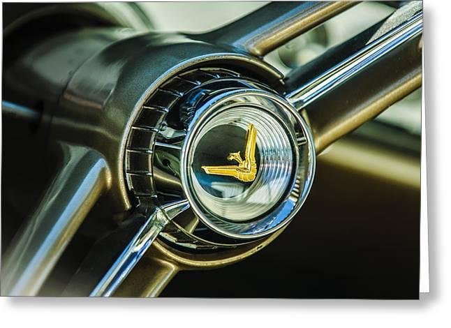 1960 Desoto Fireflite Two-door Hardtop Steering Wheel Embelm Greeting Card by Jill Reger