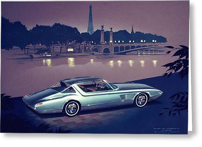 1960 Desoto  Vintage Styling Design Concept Painting Paris Greeting Card by John Samsen