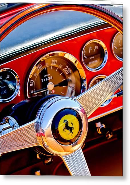 Greeting Card featuring the photograph 1960 Ferrari 250 Gt Cabriolet Pininfarina Series II Steering Wheel Emblem -1319c by Jill Reger