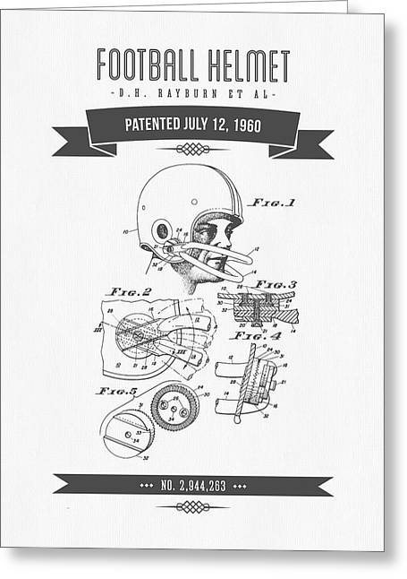 1960 Football Helmet Patent Drawing - Retro Gray Greeting Card by Aged Pixel