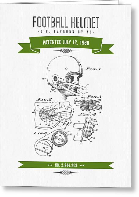 1960 Football Helmet Patent Drawing - Retro Green Greeting Card by Aged Pixel