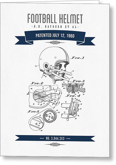 1960 Football Helmet Patent Drawing - Retro Navy Blue Greeting Card by Aged Pixel