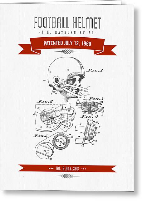 1960 Football Helmet Patent Drawing - Retro Red Greeting Card by Aged Pixel