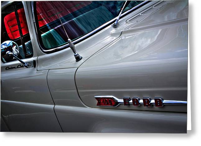 1960 Ford F100 Styleside Custom Cab Pickup Greeting Card by David Patterson