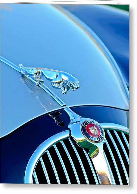 1960 Jaguar Mk II 2.4-liter Saloon Grille Emblem - Hood Ornament Greeting Card by Jill Reger