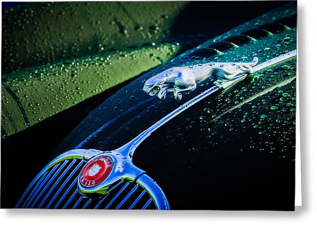 1960 Jaguar Xk 150s Fhc Hood Ornament -0441c Greeting Card