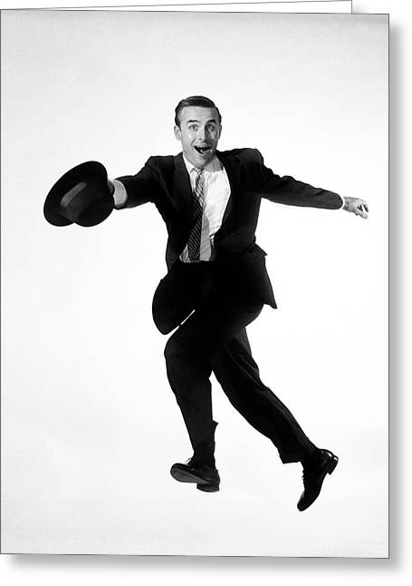 1960s 1950s Man Business Suit Jumping Greeting Card