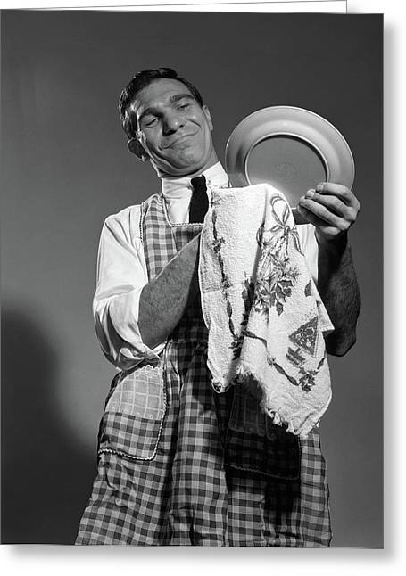 1960s 1950s Man Husband In Apron Drying Greeting Card