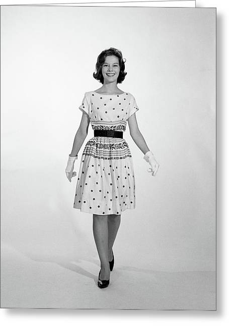 1960s 1950s Smiling Woman Walking Greeting Card