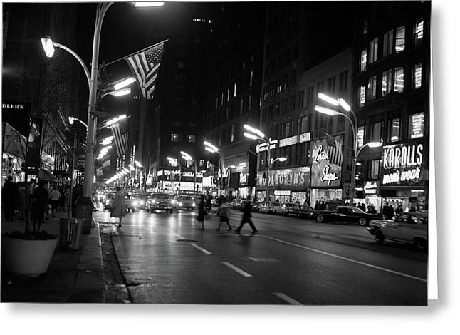 1960s 1963 Night Scene Of Busy Traffic Greeting Card