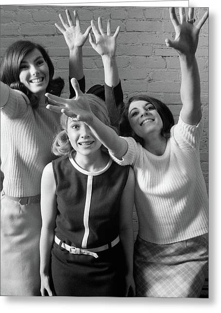 1960s 1970s Group Of Excited Fans Greeting Card