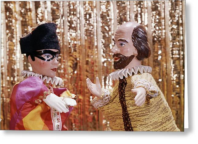 1960s 1970s Hand Puppets Show Harlequin Greeting Card