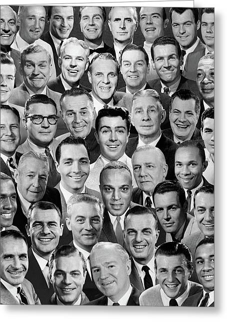 1960s 1970s Montage Of Mens Portraits Greeting Card