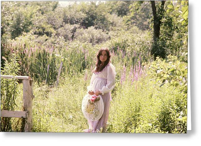 1960s 1970s Pregnant Woman Standing Greeting Card