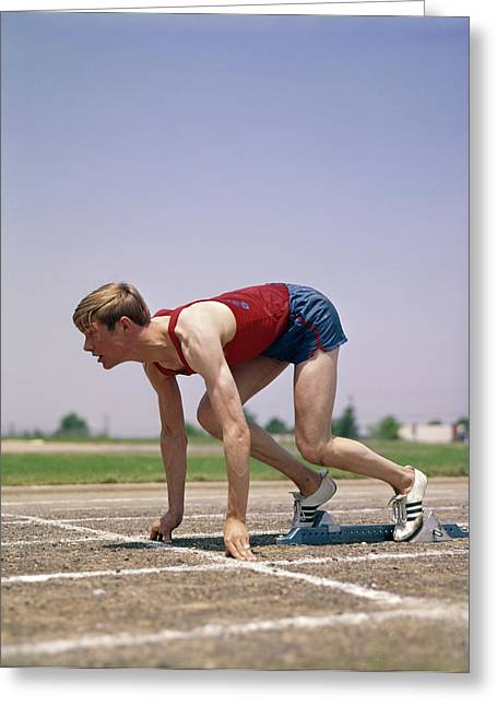 1960s 1970s Profile Athlete Runner Greeting Card