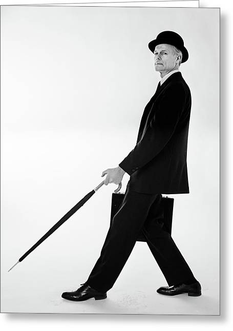 1960s 1970s Side View Of Man In Suit & Greeting Card