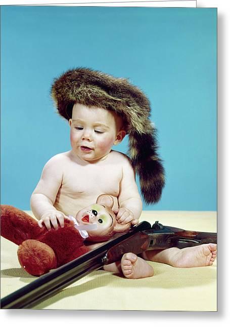 1960s Baby Boy Wearing Coonskin Cap Greeting Card