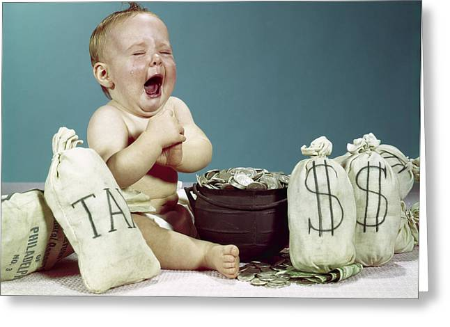 1960s Baby Crying Laughing Mouth Wide Greeting Card