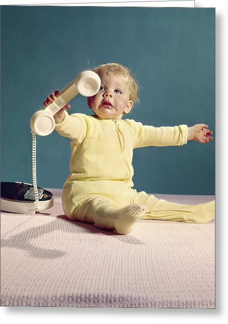 1960s Baby Holding Telephone Head Set Greeting Card