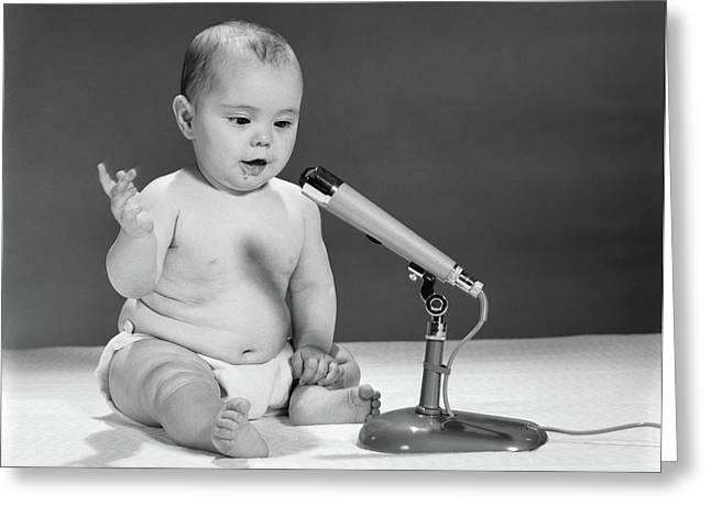1960s Baby In Diaper Speaking Greeting Card