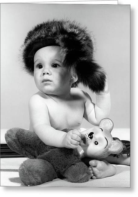 1960s Baby Wearing Coonskin Hat Greeting Card