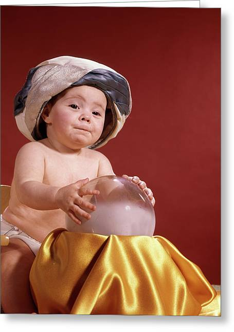 1960s Baby With Fortune Teller Turban Greeting Card