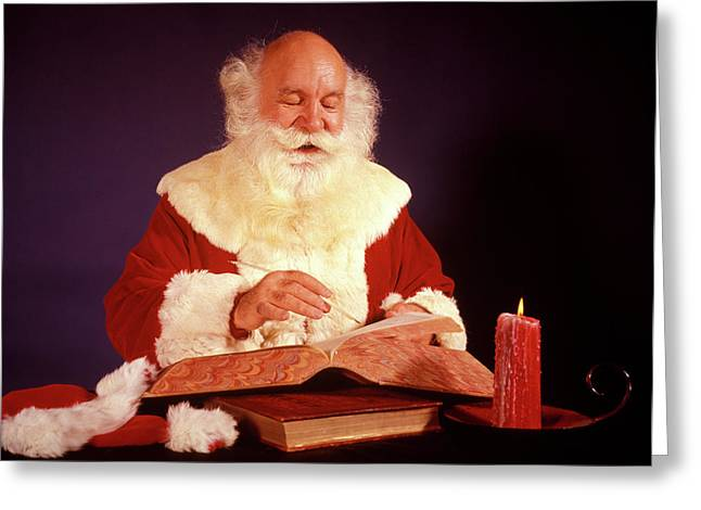 1960s Bald Santa Claus Writing Or Greeting Card