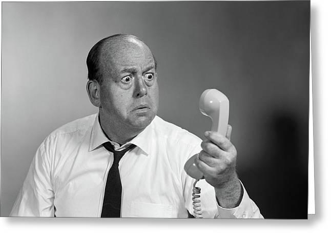 1960s Balding Man Looking Angry Greeting Card