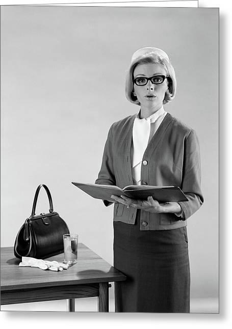 1960s Blond Woman Speaker Standing Greeting Card